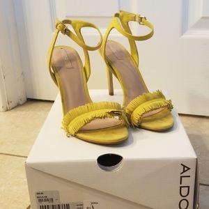 Fun yellow fringed heels